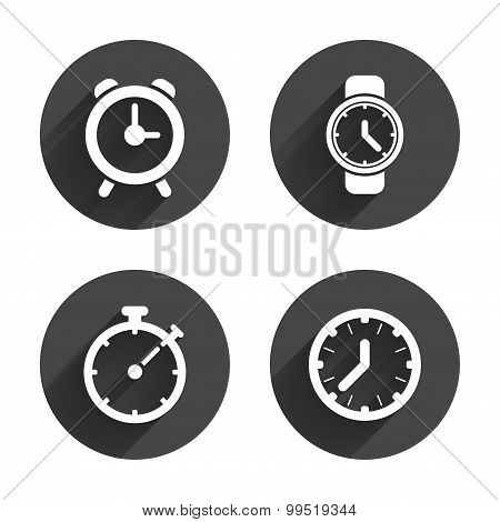 Mechanical clock time icons. Stopwatch timer.