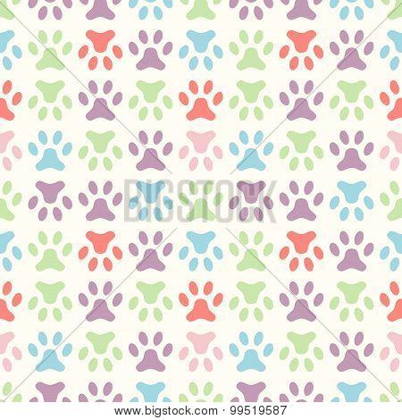 Animal seamless  pattern of paw footprint. Endless texture