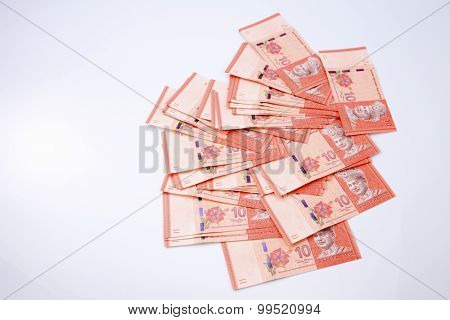 Malaysia ten Ringgit on the white background