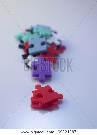 colorful jigsaw puzzled form a exclamation mark