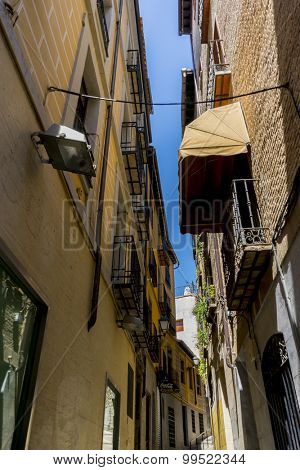 Ancient, streets of the city Toledo, medieval architecture and Castilian