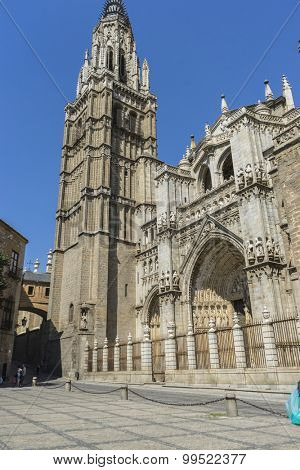 Main gate, amazing and beautiful cathedral in Toledo, Spain