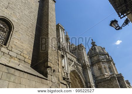 Medieval, majestic facade of the cathedral of Toledo in Spain, beautiful church