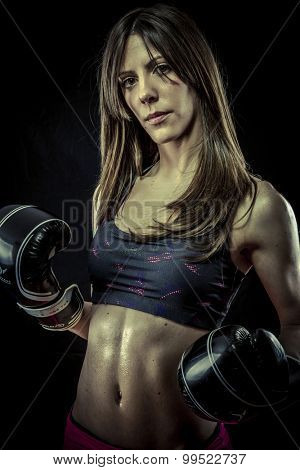 Martial, Female Athlete with boxing gloves