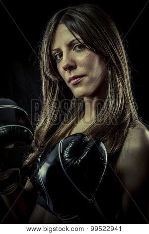 Sexy woman Athlete with boxing gloves