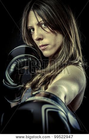 Sports, Sexy woman Athlete with boxing gloves