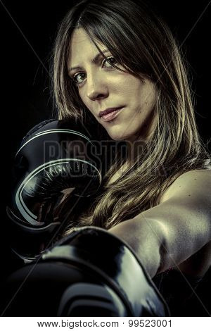 Sport, Sexy woman Athlete with boxing gloves