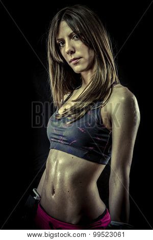 Workout, strong woman athlete with boxing gloves