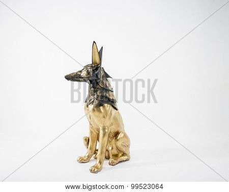 Religion, sculpture of the Egyptian god Anubis, gold figure and black jackal