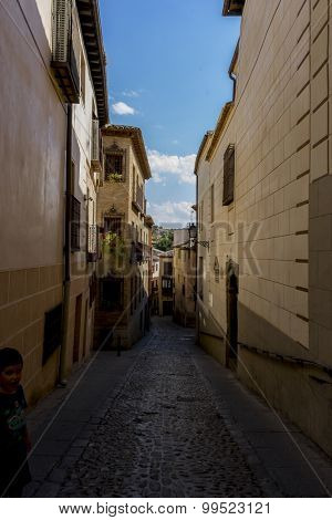 Travel, streets of the city Toledo, medieval architecture and Castilian