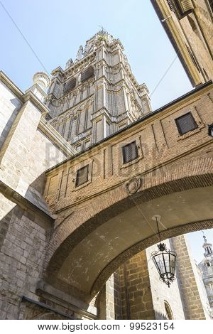 majestic facade of the cathedral of Toledo in Spain, beautiful church