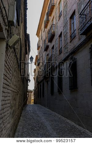 Tourism, streets of the city Toledo, medieval architecture and Castilian