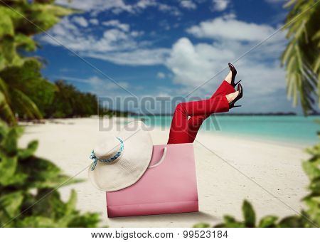 Woman in the bag resting