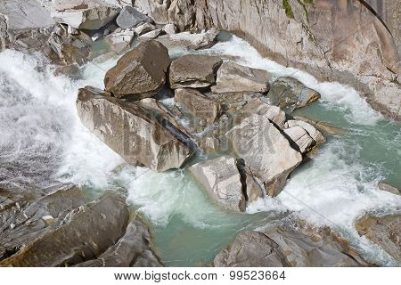 Reuss river in the swiss alps