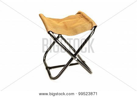 Folding chair isolated on white portable for use at picnics and camping.