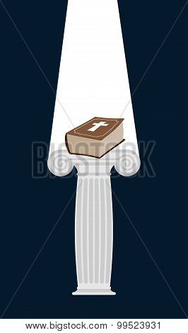 Bible Is Pedestal In Dark. Divine Light Illuminates A Thick Book. Gift Of Heaven. Vector Illustratio