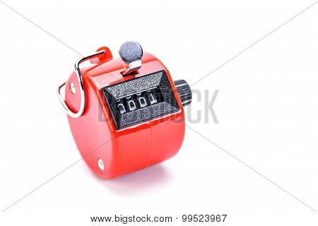 Hand tally counter isolated on white background