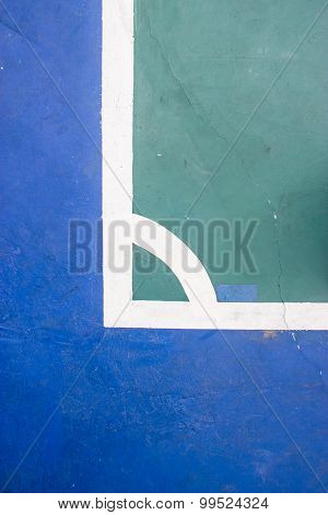 Futsal Court Indoor Sport Stadium With Mark, White Line In The Stadium.