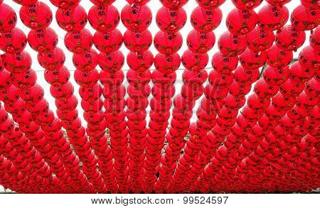 Red Lanterns At A Buddhist Temple