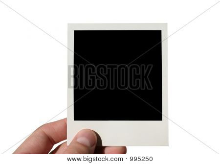 Holding Blank Photo Frame Isolated