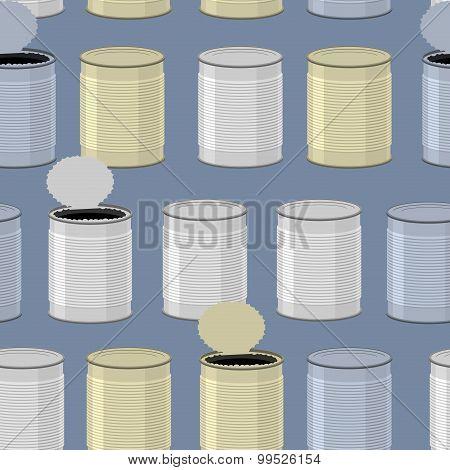 Tin Seamless Pattern. Color Tincan Background.