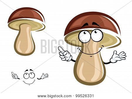 Cartoon birch mushroom with brown hat