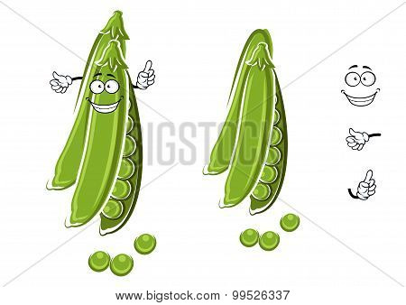 Cartoon green pea pod character