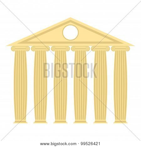 Greek Temple With Columns And Roof. Vector Illustration Of Ancient Architecture.