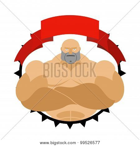 Strong Man In Circle. Logo For  Fitness Room Or Sports Team. Vector Logo. Bodybuilder With Big Muscl