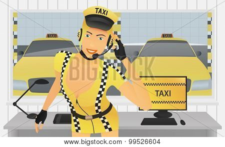 Taxi Dispatcher in Office