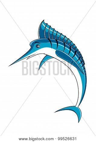 Jumping blue marlin fish character