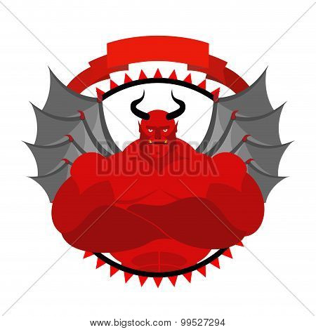 Dreaded, Scary Satan Logo For A Sports Team Or Sports Club. Red Demon With Large Muscles.