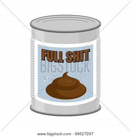 Full Shit. Canned Turd. Vector Illustration