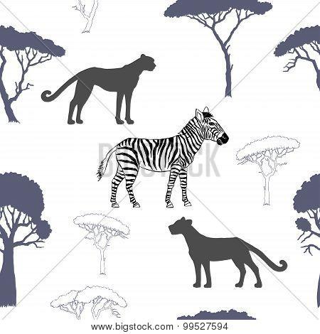 Seamless pattern with savanna animals-02