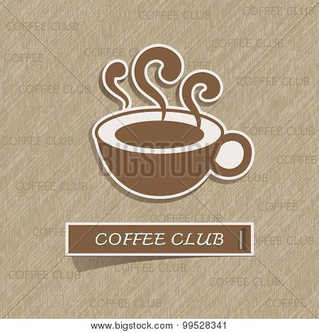 Coffee Cup Sticker On Brown Paper