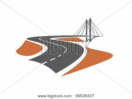 Road leading to the cable-stayed bridge