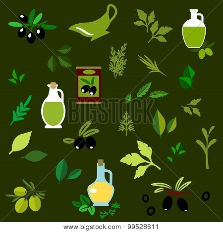 Olive fruits and herbs flat icons