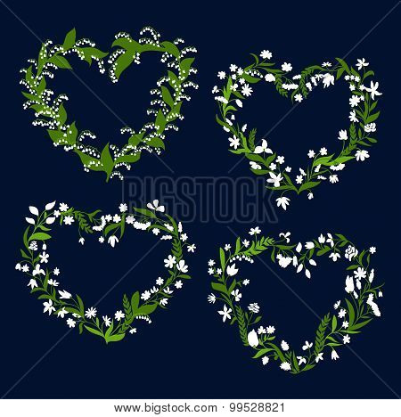Floral heart frames with white flowers