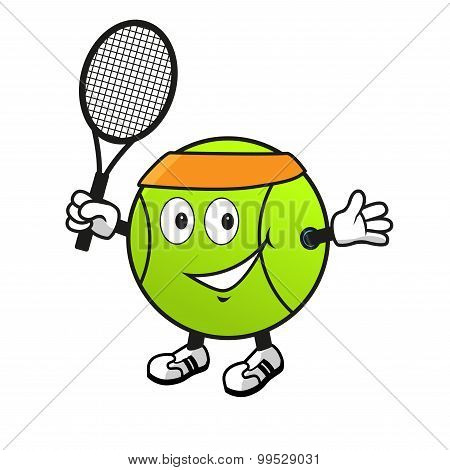 Cartoon tennis ball with racket