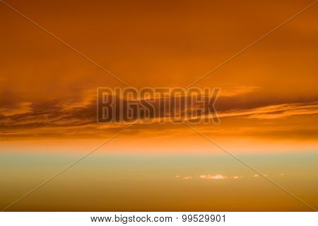 Fiery Orange Clouds And Dramatic Golden Sky, Sunset Background