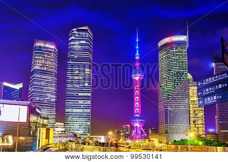 Shanghai-may 24, 2015. Oriental Pearl Tower At The Nighttime. Tower  470 Meter The Oriental Pearl Is