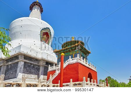 White Pagoda In  Beihai Park, Near The Forbidden City, Beijing.