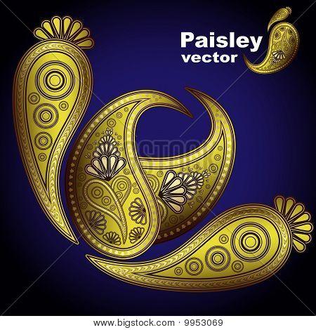 Vector Kashmir henna design fashion.