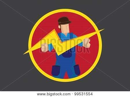 Man With Lightning Symbol Vector Illustration