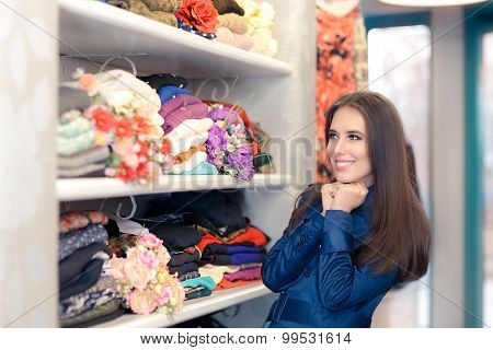 Happy  Girl in Blue Trench Coat Shopping