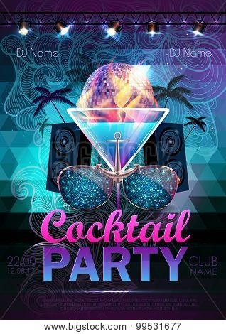 Disco Ball Background. Disco Cocktail Party Poster On Triangle Background