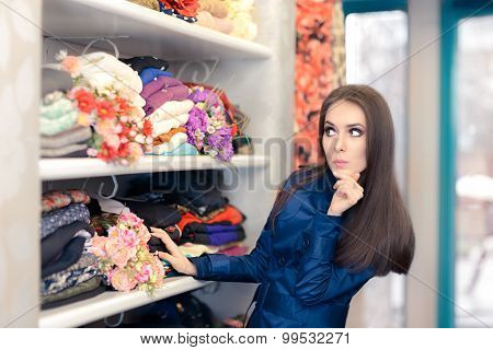 Surprised  Girl in Blue Trench Coat Shopping