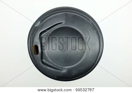 Black plastic lid of coffee cup