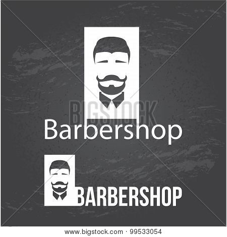 Design concept of the logo, badge, label,. Barbershop men's hipster hairdresser.  Invert colors.