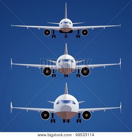 Set of airplanes isolated on blue background. Front view. different scales.
